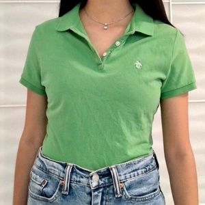vintage green penguin embroidered polo tshirt